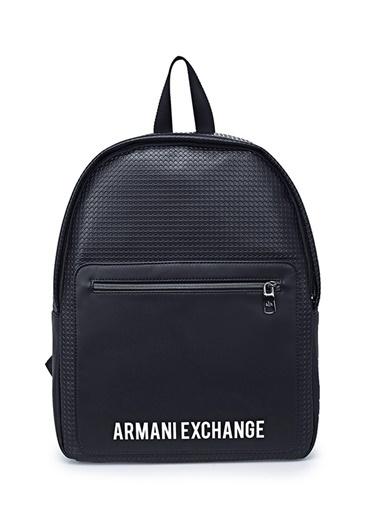 Armani Exchange Armani Exchange Logo Baskılı Desenli Erkek Sırt Çantası Siyah